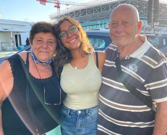 Vanessa with her Italian parents