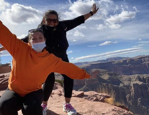 Vanessa and host mom posing in front of Grand Canyon