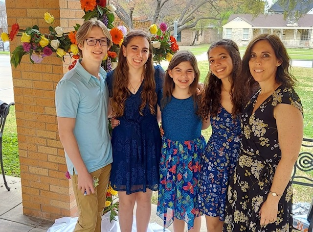 American family outside of church on Easter Sunday