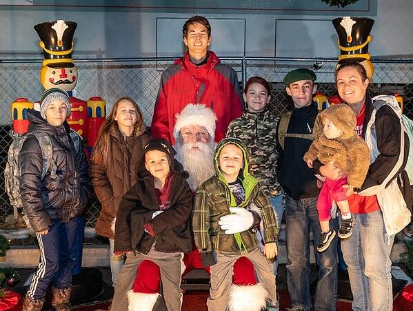 large family with Santa