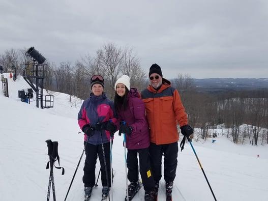 exchange student skiing with older host parents
