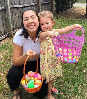 teen and toddler Easter egg hunt
