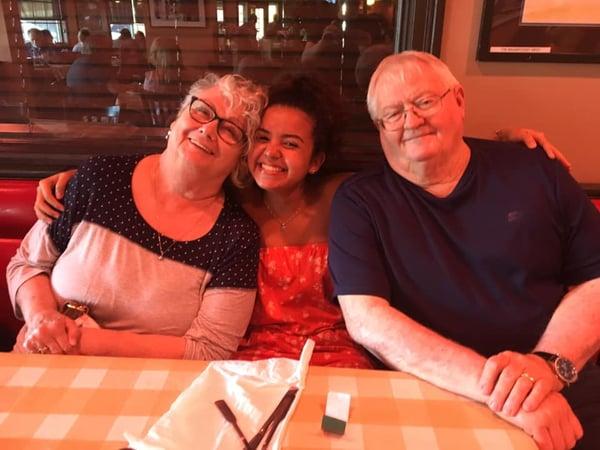 older couple with exchange student