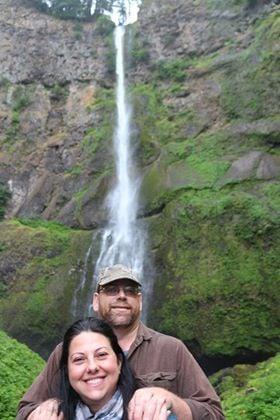 Bob and Carla in front of Multnomah Falls