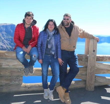 Dan, Carla, and Bob in front of Crater Lake