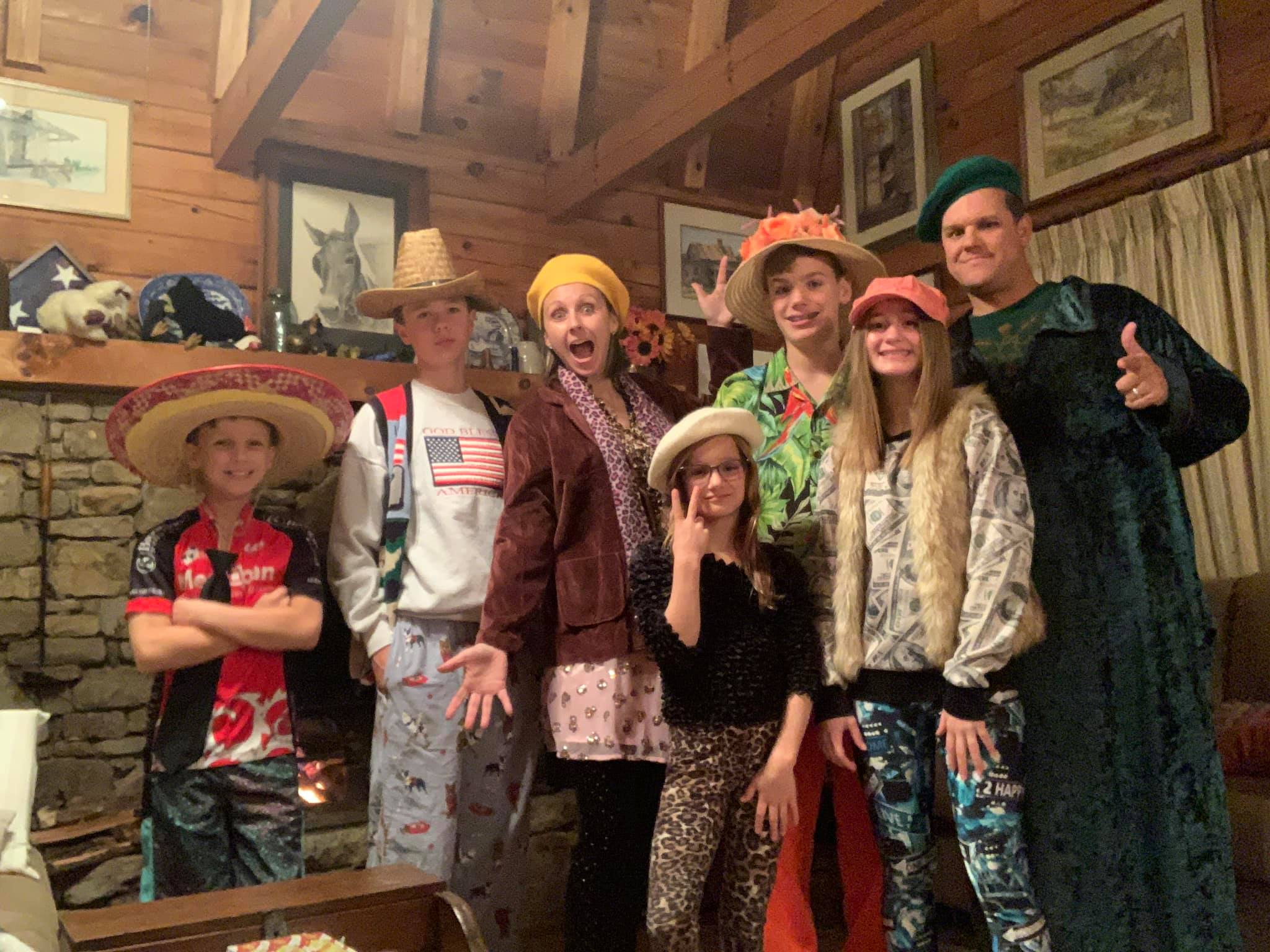 family dressed up in crazy costumes