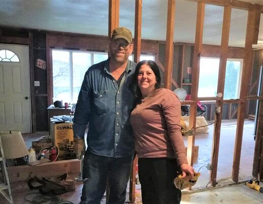 Bob & Carla inside home in process of renovations