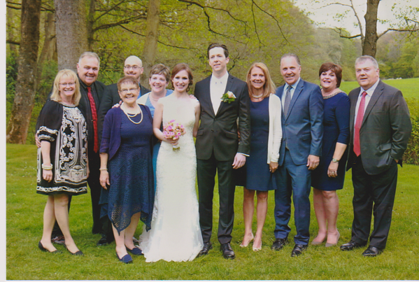 family with bride and groom