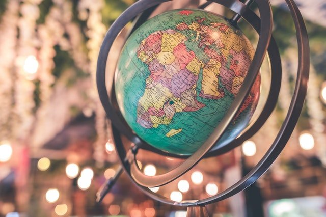 globe showing africa with sparkly background