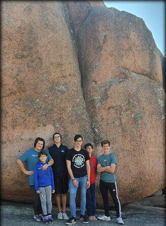 Jamie and host family in front of Elephant Rock