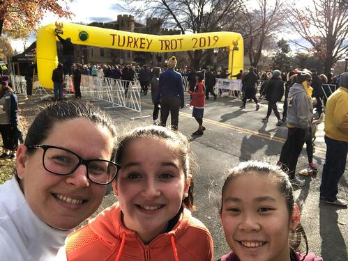 Mom and daughters at Turkey Trot