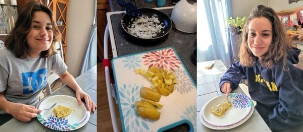 teen girls trying Spanish omelette