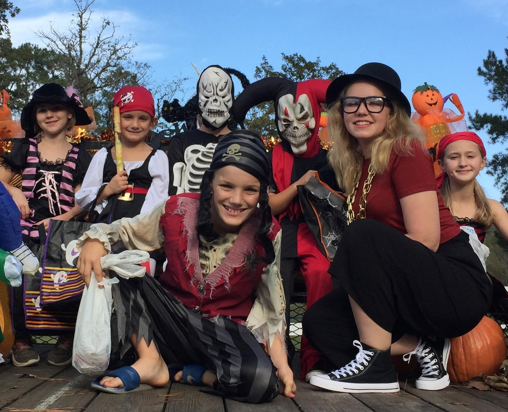 children dressed as pirates for Halloween