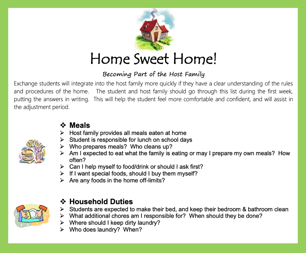 Home Sweet Home host family conversation guide