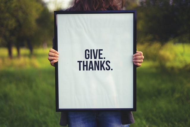 Sign that says Give Thanks to discuss ways to cultivate gratitude every day and teach gratitude skills and culture