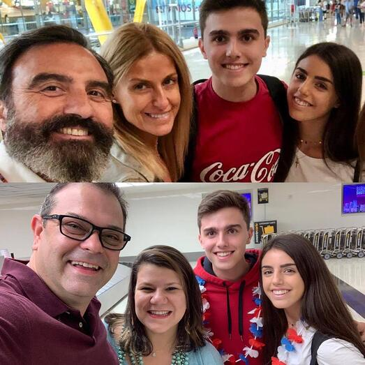 Spanish parents say goodbye to their children and the US host family receives the two students at the airport