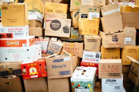 cardboard boxes full of stuff