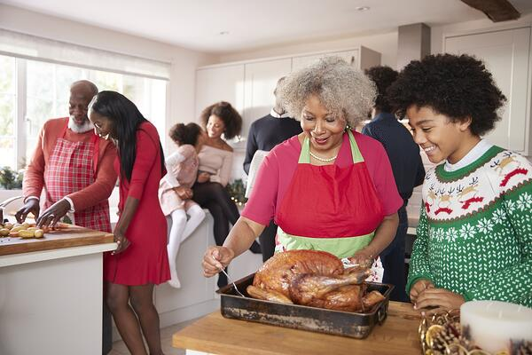 family making Christmas dinner