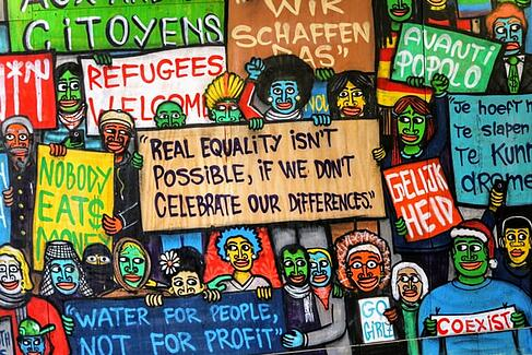 collection of signs about equality and equal rights and against racism