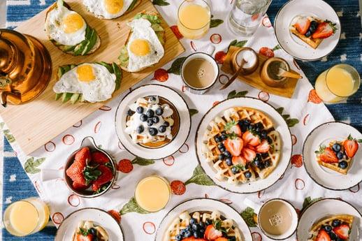 huge spread of breakfast foods