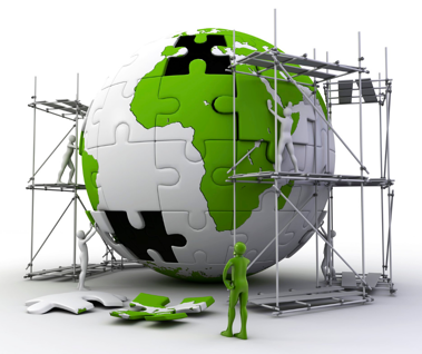 scaffolding around 3D globe puzzle