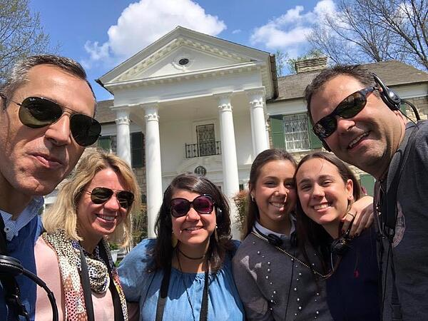A Spanish family visits their daughter's host family in the USA