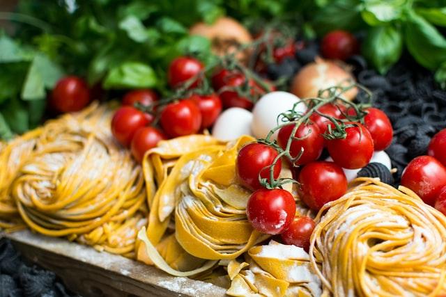 fresh italian pasta with cherry tomatoes