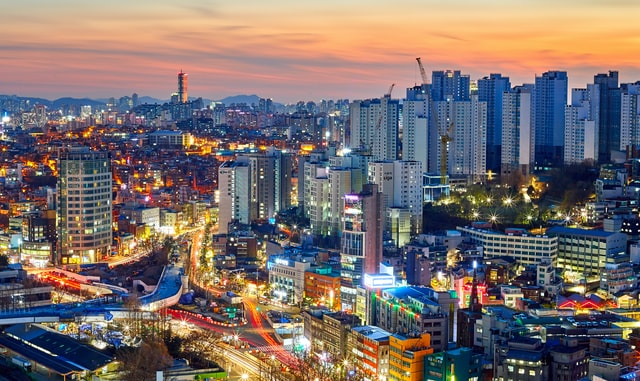 Seoul capital of South Korea at sunset