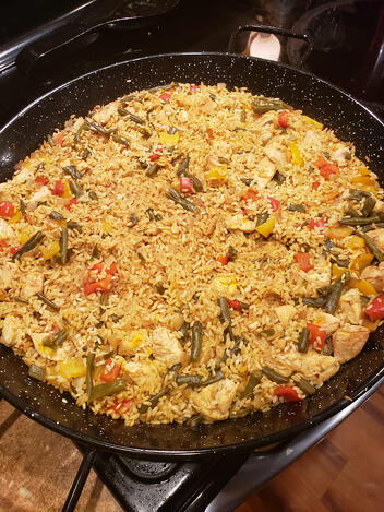 Spanish paella in a frying pan