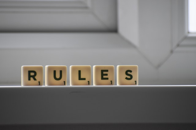 scrabble pieces spelling the word rules