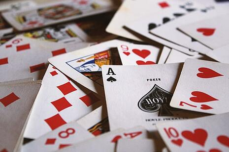 a pile of playing cards