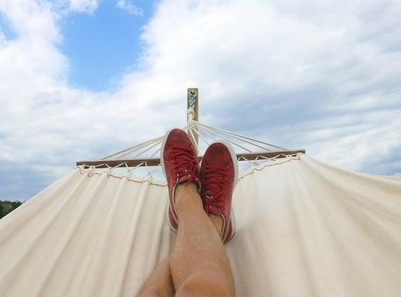 feet relaxing in hammock